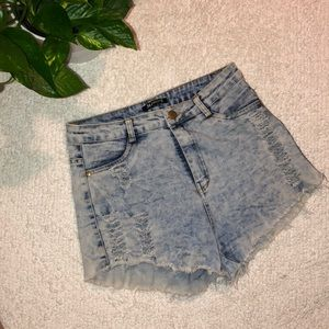 Festival high waisted distressed jean shorts